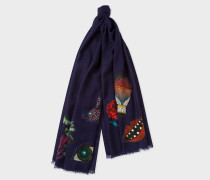 Navy Embroidered 'Psychedelic Patterns' Wool Scarf
