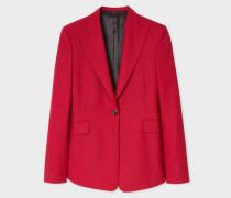 Slim-Fit Red Houndstooth One-Button Wool Blazer