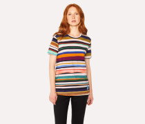 'Expressive Stripe' Print Cotton T-Shirt