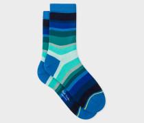 Blue Tonal-Stripe Socks