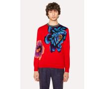 Red 'Ocean' Intarsia Sweater
