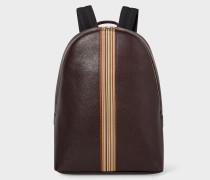 Dark Burgundy Leather Signature Stripe Backpack