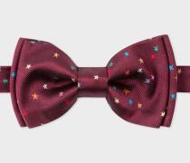 Burgundy Embroidered 'Stars' Silk Bow Tie