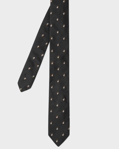 Black Embroidered Rabbit Motif Narrow Silk Tie