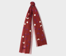Burgundy Fil Coupé Moon Pattern Cotton-Silk Scarf