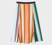 Pink Multi-Coloured Stripe Skirt With Contrast Waistband