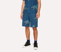 Blue Mid-Length 'Octopus' Print Cotton-Linen Shorts