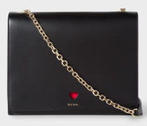 Black 'Heart' Leather Shoulder Bag