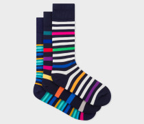 Mixed-Stripe Socks Three Pack
