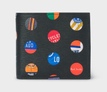 'Cycle Dot' Print Leather Billfold And Coin Wallet