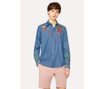 Slim-Fit Chambray Shirt With Floral And 'Sun' Embroidery