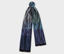 Tonal Blue 'Tree Bark' Lambswool And Cashmere Scarf