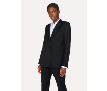 Black Double-Breasted Wool-Mohair Blazer