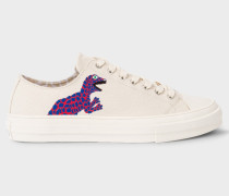 Ecru Canvas 'Kinsey' Trainers With Dino Print