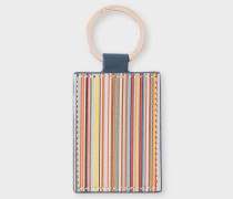 Teal Leather Signature Stripe Keyring