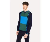 Blue And Green Colour-Block Merino Wool Funnel-Neck Half-Zip Sweater