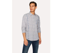 Tailored-Fit Blue And White Check Panelled Cotton Shirt