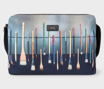 'Paint Brushes' Print Canvas Messenger Bag