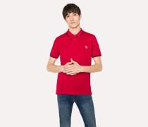 Slim-Fit Red Zebra Logo Polo Shirt With Black Tipping