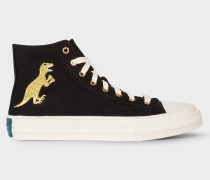 Black Canvas 'Kirk' Trainers With Embroidered Gold 'Dino'