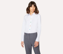 Mid-Fit White Cotton Shirt With Multi-Coloured Buttons