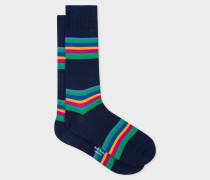 Navy Colour-Block Stripe Socks