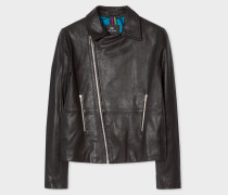 Black Leather Asymmetric Zip Biker Jacket