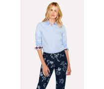Slim-Fit Light Blue Cotton Shirt With 'Lips' Print Cuff Lining