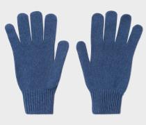 Blue Cashmere-Blend Gloves