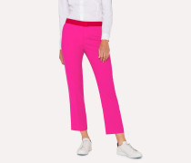 Slim-Fit Fuchsia Wool Trousers With Contrasting Waistband