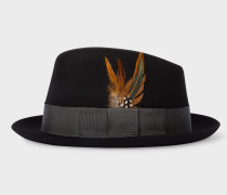 Black Wool-Felt Trilby With Feather
