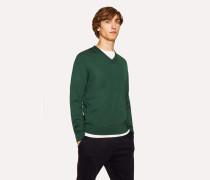 Dark Green V-Neck Merino Wool Sweater