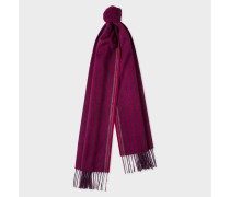 Burgundy Two-Tone Stripe Lambswool And Cashmere Scarf