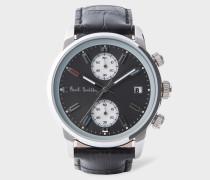 Grey And Black 'Block' Chronograph Watch