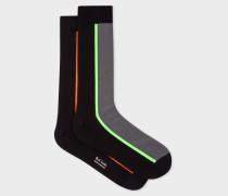 Vertical Stripe Black And Grey Socks