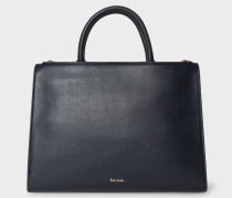 Navy Leather Double-Zip Tote Bag With 'Swirl' Print Trim