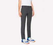 Slim-Fit Navy Flecked-Wool Trousers