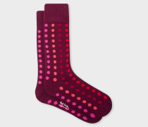 Burgundy Graduated Polka Dot Socks