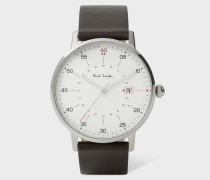Stainless Steel 'Gauge' Watch With Chocolate Brown Leather Strap