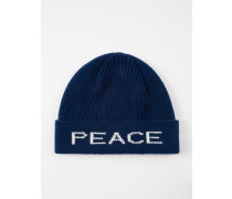 Navy 'Peace And Love' Wool Beanie Hat