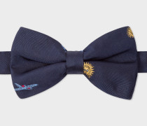 Navy Embroidered 'Sky' Motif Silk Bow Tie