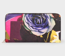 Large 'Rose Collage' Print Leather Zip-Around Purse