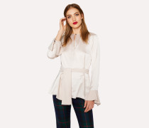 Ivory Keyhole-Front Satin Top With Belt Detail