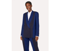 Navy And Cobalt Blue Double-Breasted Wool Blazer