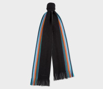 Double-Face Black Striped-Edge Wool Scarf
