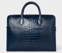 Blue 'Bright Stripe' Mock-Croc Leather Business Folio