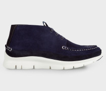 Navy Suede 'Stereo' Boots