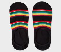 Black Colour-Block Stripe Loafer Socks
