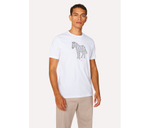 White 'Zebra' Print Organic-Cotton T-Shirt