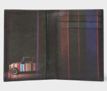 Black 'Mini' Print Interior Leather Credit Card Wallet